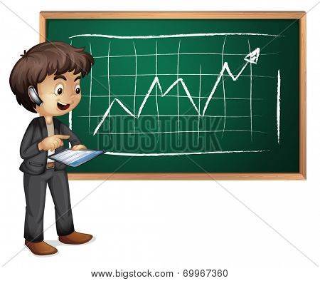 Illustration of a hitech businessman in front of the blackboard on a white background