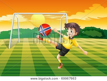 Illustration of a girl at the field kicking the ball with the flag of Norway