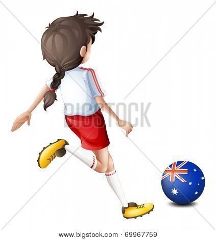 Illustration of a lady using the ball with the flag of Australia on a white background