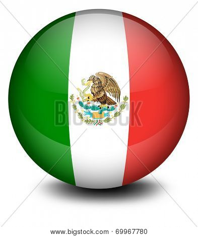 Illustration of a soccer ball from Mexico on a white background