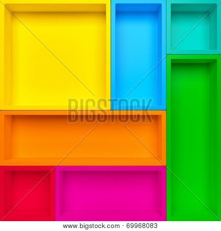 Empty colrful shelves background. Abstract creative background