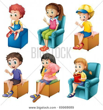 Illustration of the kids sitting on a white background