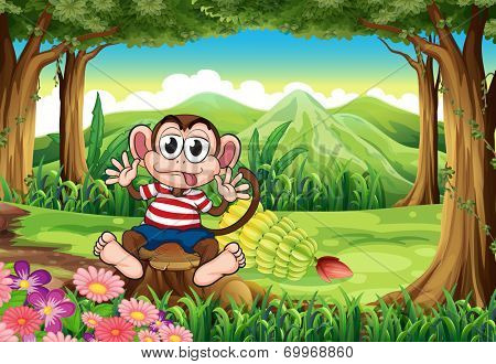 Illustration of a bloated monkey above the stump at the forest
