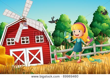 Illustration of a smiling little girl at the farm with the birds