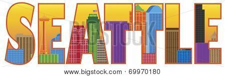 Seattle City Skyline Text Outline Color Illustration