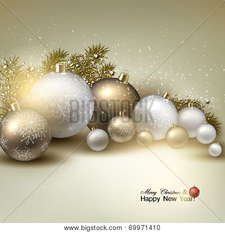 Christmas balls, golden Xmas baubles. Garland. Vector