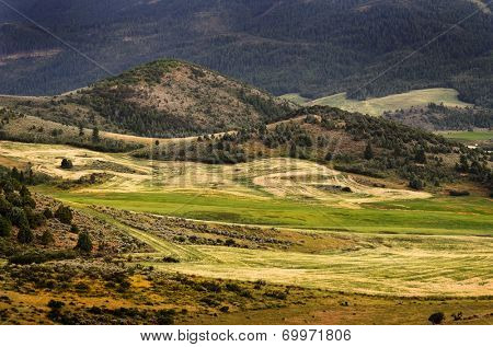 Hilly mountains farming scenery