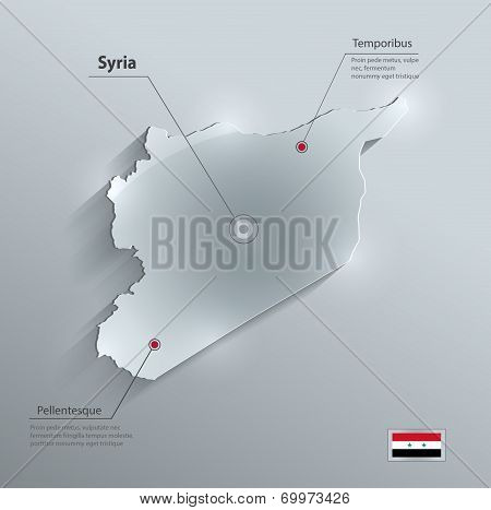 Syria map flag glass card paper 3D vector