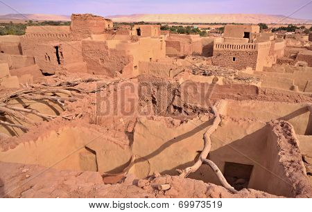 Old Part Of Desert Town Mut In Dakhla Oasis, Egypt.