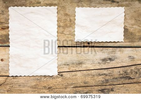 Recipe Background. Blank Paper Sheet On Wooden Table.