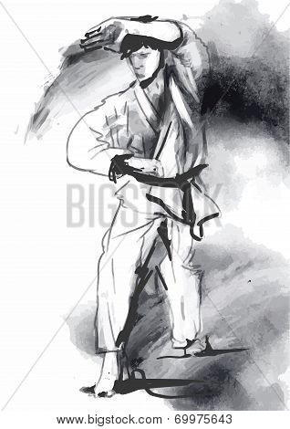 Karate - Hand Drawn (calligraphic) Vector