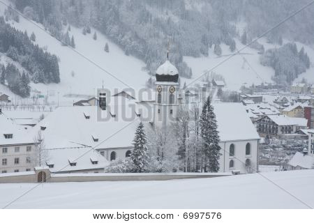 Engelberg Abbey in winter
