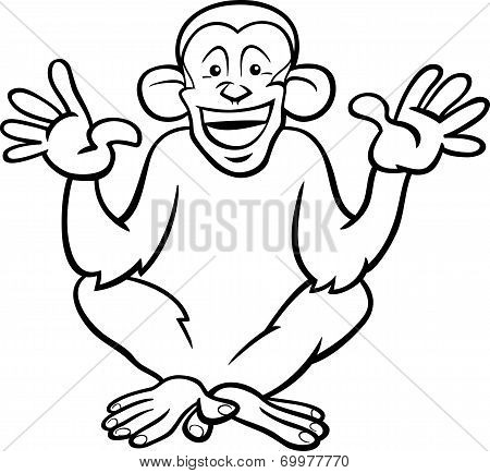 Chimpanzee Ape Cartoon Coloring Page