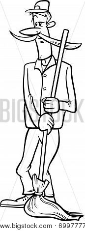 Janitor With Broom Cartoon Coloring Page