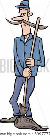 Janitor Man With Broom Cartoon Illustration