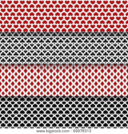 Vector set of seamless patterns with playing cards suits