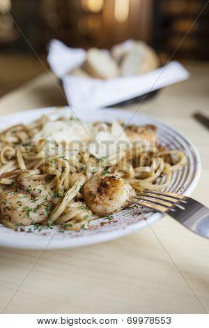 delicious italian meal of linguini and shrimp