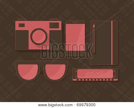 Vector set of objects in hipster style, retro camera, sunglasses, phone, notebook, and harmonica