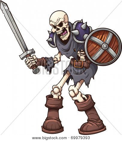 Skeleton warrior. Vector clip art illustration with simple gradients, All in a single layer.