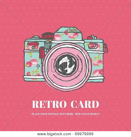 Vintage Photo Camera with Flowers - hand-drawn in vector
