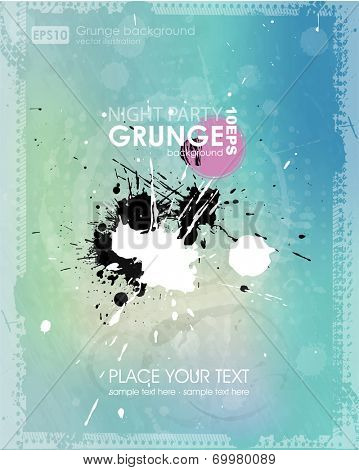 Grunge background in marine color. Grunge banner with an inky dribble strip with copy space. Abstract background for party. summer background.