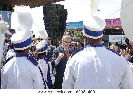 Senator Schumer greets Brooklyn United Band