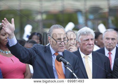 US Senator Charles Schumer makes a point