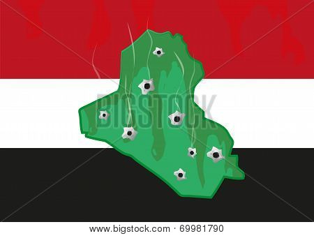 Iraq Map and colors with Bullet Holes. Militant and Civil War Crisis.