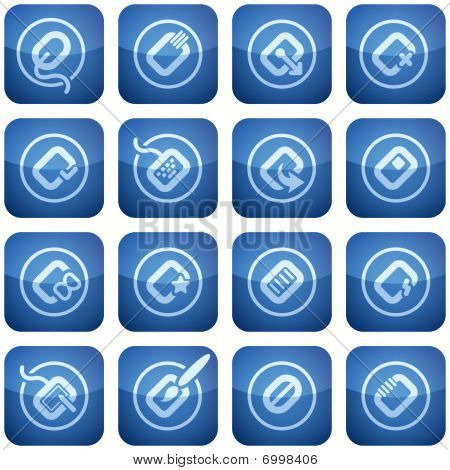 Cobalt Square 2D Icons Set: Computer Stuff