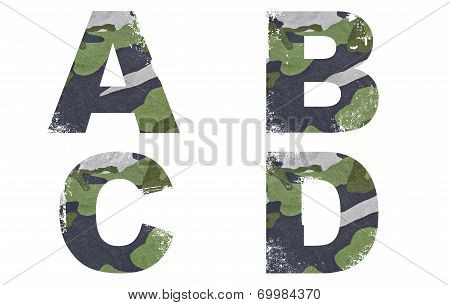 A, B, C, D alphabet from military fabric texture on white background.