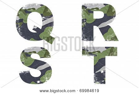 Q, R, S, T alphabet from military fabric texture on white background.