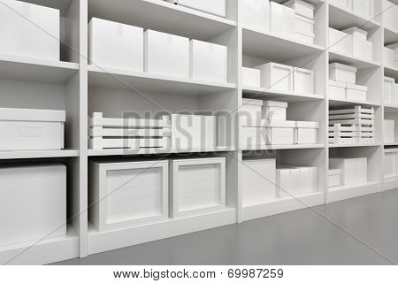 warehouse with goods on the shelf