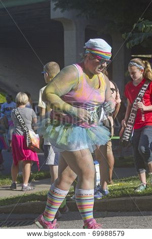 Colorful Runner Running In The Asheville Color Run