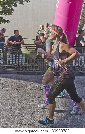 Colorful Women Race The Asheville Color Run