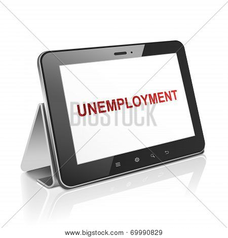 Tablet Computer With Text Unemployment On Display
