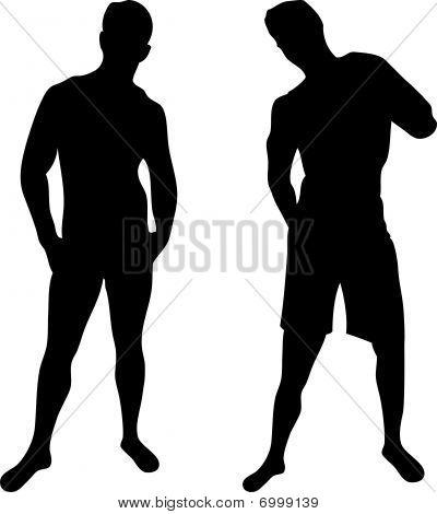 siluetas de hombres sexy sobre fondo blanco.