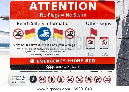 Coast City Council Beach Safety Information sign