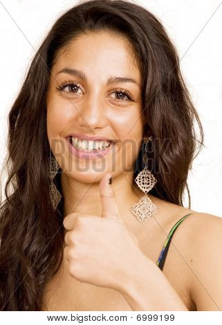 Smiling Girl With Thumb Up
