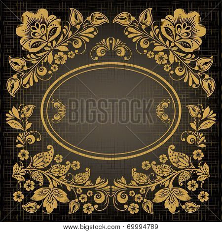 Elegant decorative khokhloma postcard frame