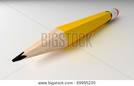 Pencil Isolated On Grey Background.