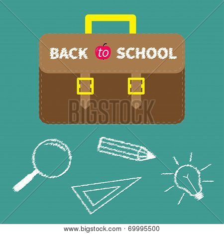 Schoolbag briefcase. Magnifier, pencil, light bulb, ruller chalk effect. Flat design style.