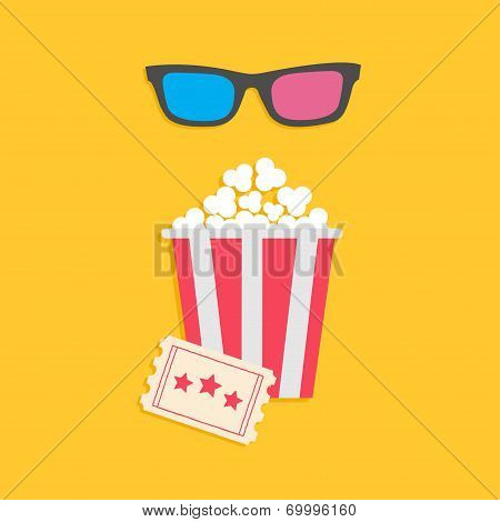 3D glasses big popcorn and ticket. Cinema icon in flat dsign style.