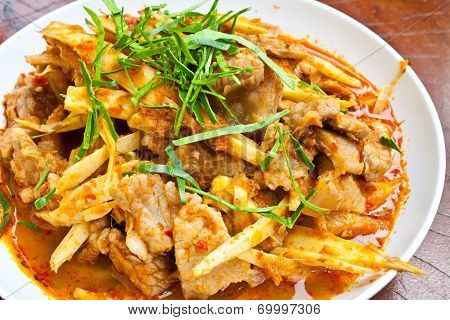 Stir Fried Pork Belly And Red Curry Paste With Bamboo Shoots