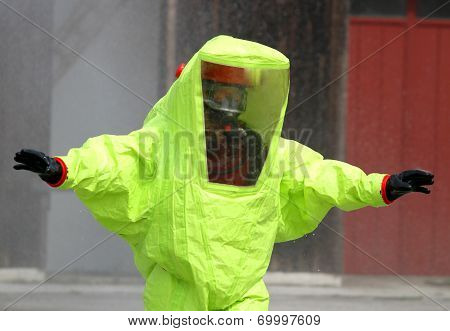 Rescuer With The Yellow Suit Against Biological Hazard From Contamination 3