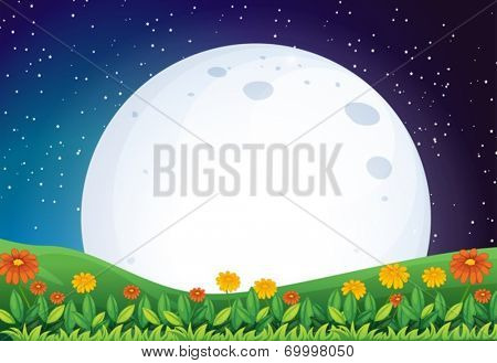 Illustration of a bright full moon