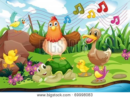 Illustration of the animals singing at the riverbank