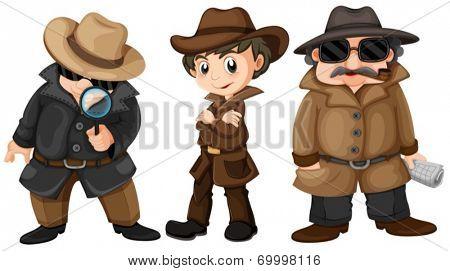 Illustration of three detectives