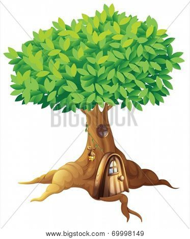 Illustration of a house in a tree