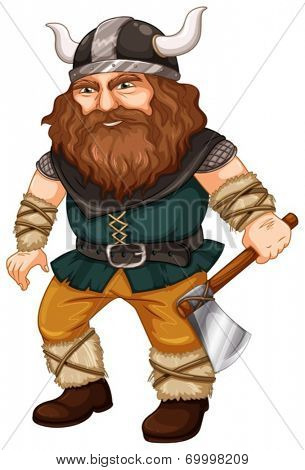 Illustration of a viking worrior