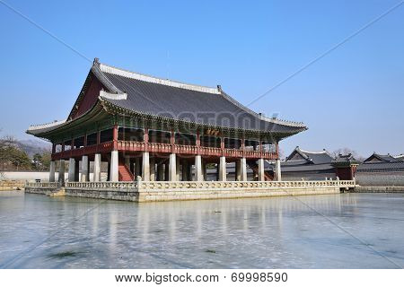 View Of Gyeonghoeru In Gyeongbok Palace In Seoul, Korea
